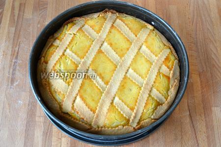 Выпекать пирог в разогретой духовке 1 час. Готовый пирог достать из духовки и дать полностью остыть, прежде чем извлечь его из формы. Лучше всего дать ему постоять ночь в форме.