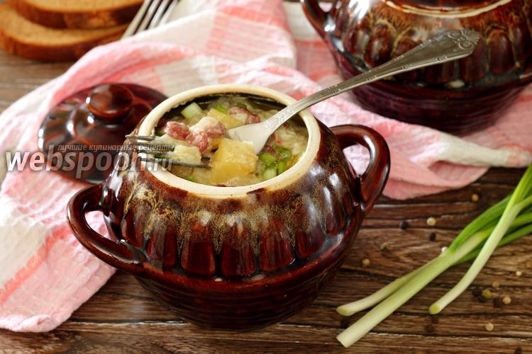 Фото Охотничьи колбаски с картофелем в горшочках