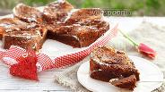Фото рецепта Мокрый шоколадный кухен с апельсиновым курдом