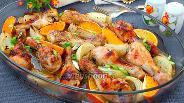 Фото рецепта Запечённая курица с апельсинами и луком