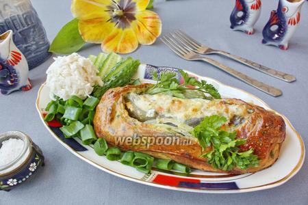 Зубатка в тесте с овощами