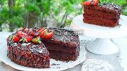 Фото рецепта Торт-брауни с ягодным мармеладом «Пралине»
