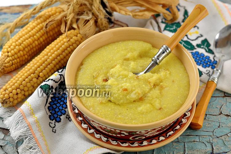 Фото Кукурузная каша с картофелем и жареным луком