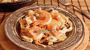 Фото рецепта Паста с мидиями и тигровыми креветками в сливочном соусе