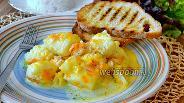 Фото рецепта Палтус в сливочном соусе с овощами