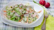 Фото рецепта Салат с копчёной курицей и огурцом