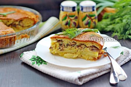 Заливной пирог с сайрой и картофелем