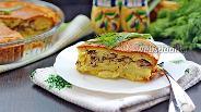 Фото рецепта Заливной пирог с сайрой и картофелем
