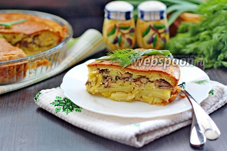 Фото Заливной пирог с сайрой и картофелем