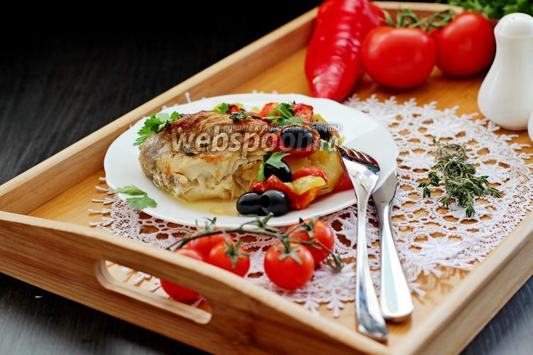 Фото Морской окунь с овощами в духовке