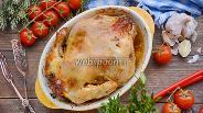 Фото рецепта Курица фаршированная грибами и помидорами черри