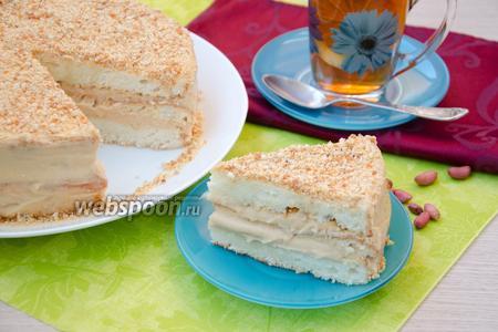 Фото рецепта Торт с арахисовым пралине