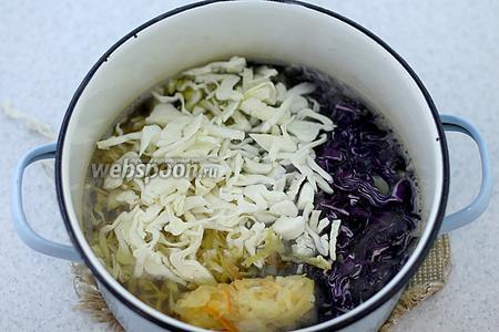 Когда картофель доведён до полуготовности, добавьте нарезанную соломкой капусту и сладкий перец. Перец я использовала замороженный. Перемешайте и варите до готовности всех ингредиентов.