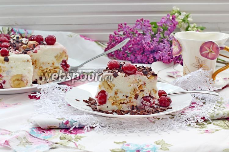 Фото Творожно-йогуртовый торт с вишней и бананом