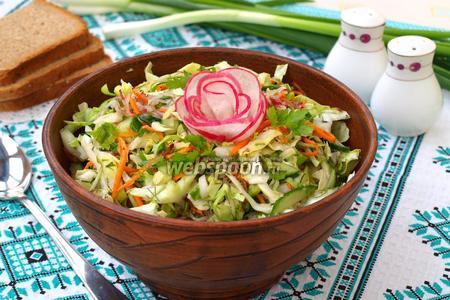 Салат из молодой капусты с редисом, огурцом и морковью