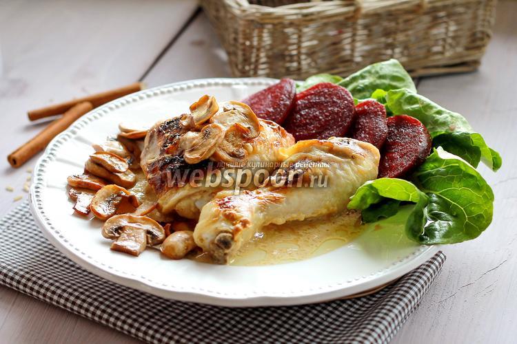 Фото Курица с грибами в сливочно-горчичном соусе