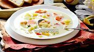 Фото рецепта Суп сырный с креветками и кукурузой