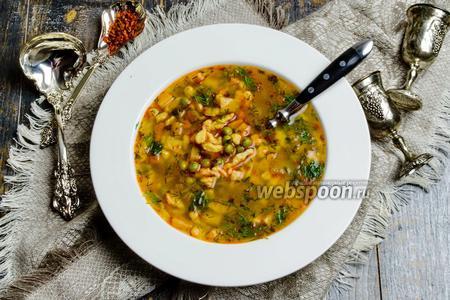 Суп гороховый с клёцками (Nokedli) по-венгерски