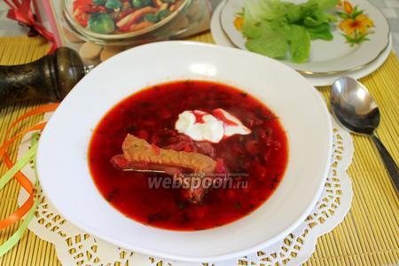Фото рецепта Борщ с солёными грибами и пекинской капустой