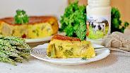 Фото рецепта Заливной пирог с сыром, минтаем и спаржей