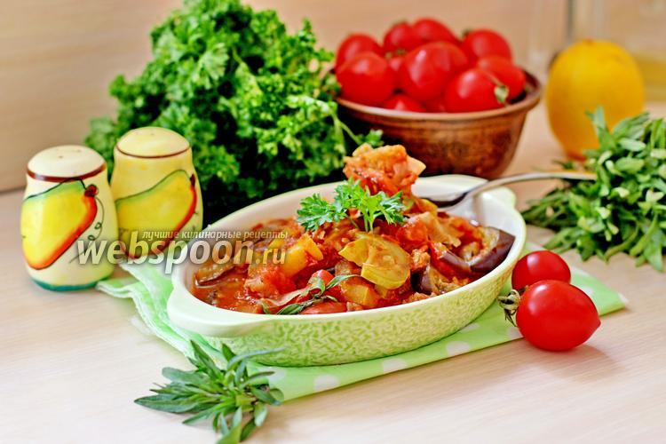 Фото Тушёное филе минтая с овощами