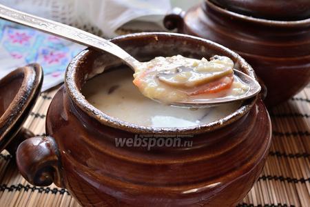 Сливочный пшенный суп с грибами