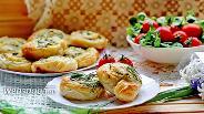 Фото рецепта Слоёные плюшки с творогом и зеленью