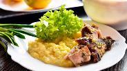 Фото рецепта Мясо с черемшой и сметаной