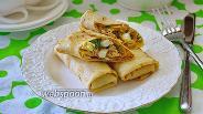 Фото рецепта Блины с начинкой из печени трески и сыра
