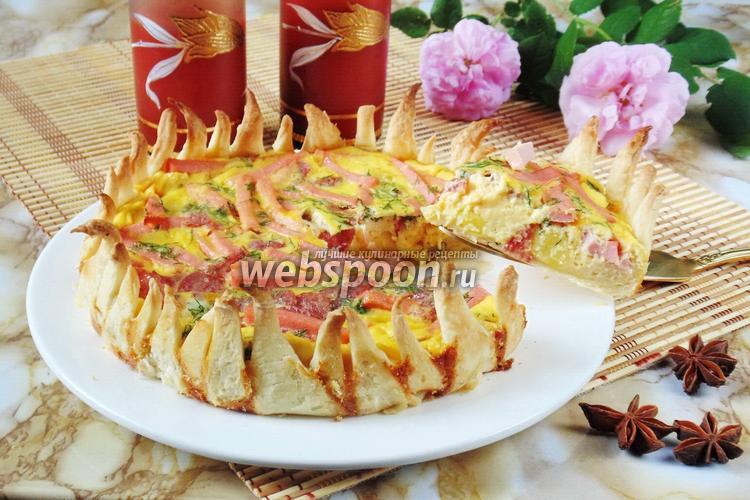 Фото Закусочный пирог с колбасой «Цветок»