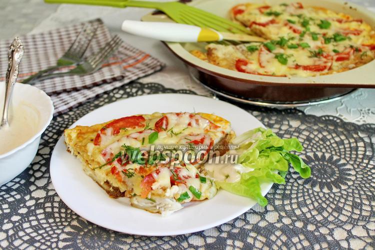Фото Тилапия с помидорами в омлете, запечённая в духовке