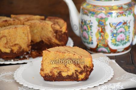 Мраморный пирог с тыквой и шоколадом в мультиварке