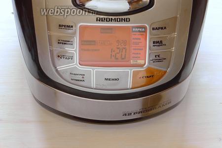 После сигнала об окончании заданных параметров, устанавливаем, аналогично предыдущему шагу, температуру 120°С, а кнопкой «Установка времени» выбираем 1 час 20 минут.