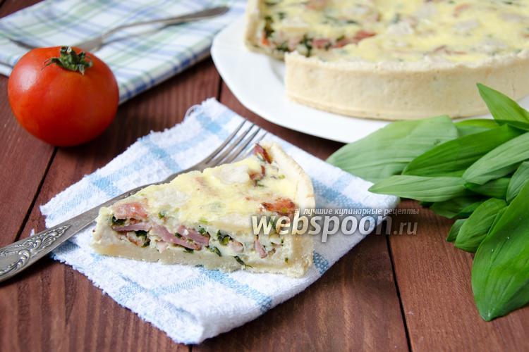 Фото Открытый пирог с черемшой и грудинкой