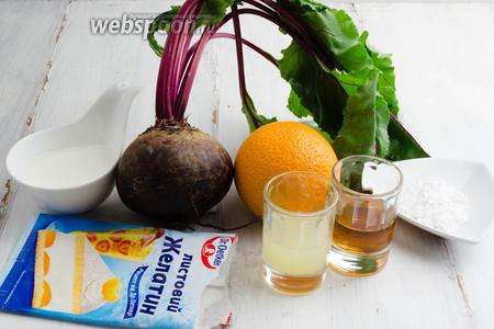 Чтобы приготовить мусс, нужно взять свёклу, сок апельсина, сок лимона, вино Мадера, воду, желатин, сахарную пудру, сливки.