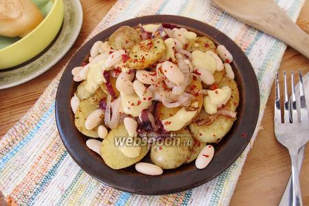 Картофель с белой фасолью и горчичным соусом