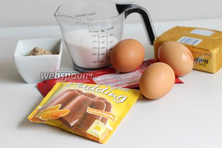 Итак, нам нужны яйца, сахар, мука, масло, пудинг, шоколад, молоко, миндаль (или любой молотый орех), разрыхлитель.