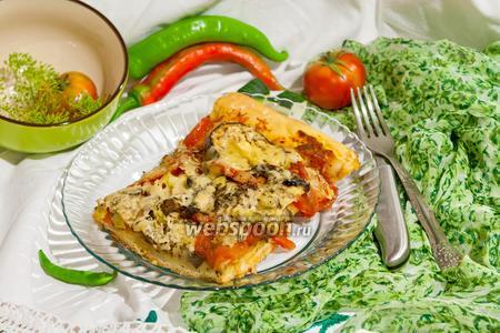 Пицца с баклажанами и грибами