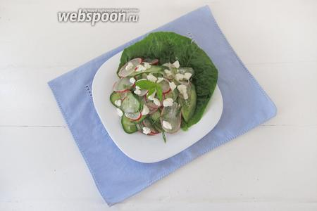 Выкладываем салат на тарелку и кладём сверху кусочки сыра. Сразу подаём на стол.