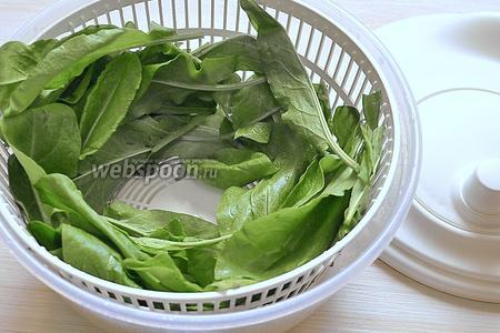 Листья промываем под проточной водой и сушим полотенцем или как я, в пластмассовой центрифуге для сушки овощей.