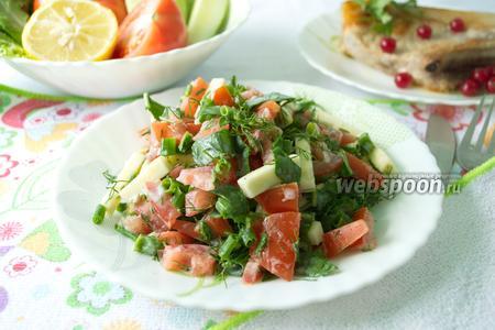 Салат из свежего кабачка и помидора