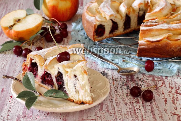 Фото Сдобный пирог с вишнями и маком
