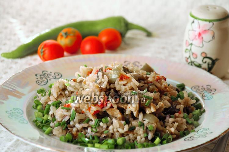 Фото Плов вегетарианский с грибами в мультиварке