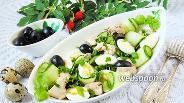 Фото рецепта Салат из печени трески с огурцами