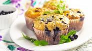 Фото рецепта Маффины с черникой и овсяными хлопьями