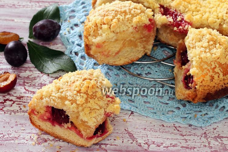 Фото Сливовый пирог с творожной начинкой и штрейзелем