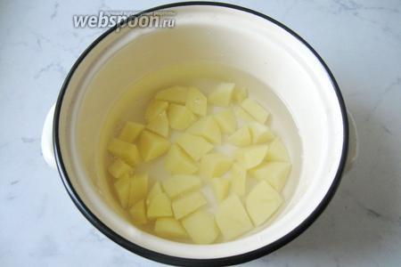 В кастрюлю наливаем воду и кладём нарезанный картофель. Ставим кастрюлю на плиту.