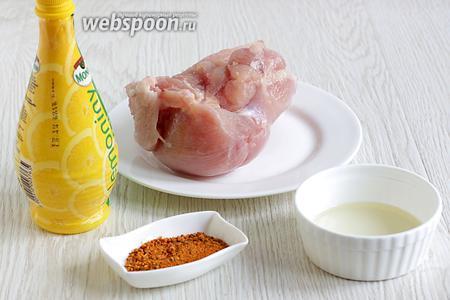 Для приготовления куриных отбивных в лимонном соке возьмём крупную куриную грудку, лимонный сок, растительное масло, соль, специи для такос, в их состав уже входит чеснок.