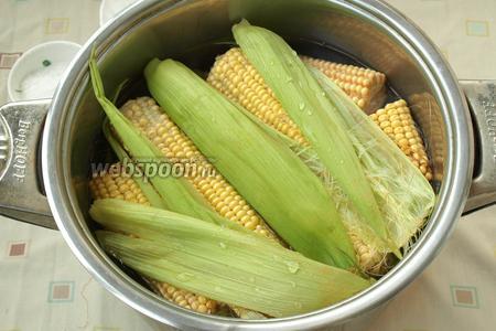 Кукурузу почистить, сложить в кастрюлю и залить холодной водой. На дно, сверху кукурузы, положить несколько листьев и кукурузных рылец для лучшего аромата. Поставить кукурузу на огонь, добавить в воду соль, накрыть кастрюлю крышкой. Варить 50 минут.