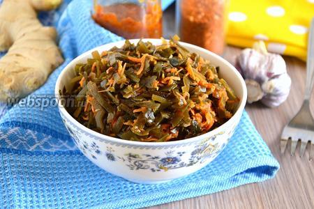 Фото рецепта Острая закуска из морской капусты с морковью